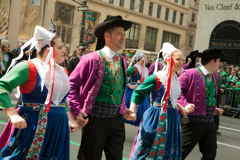 Dancers from the Breton group Bagad Plougastell.