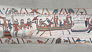 Bayeux Tapestry scene 4: Harold boards his ship to sail across the Channel to Normandy. .<br /> <br /> If you prefer you can also buy from our ALAMY PHOTO LIBRARY  Collection visit : https://www.alamy.com/portfolio/paul-williams-funkystock/bayeux-tapestry-medieval-art.html  if you know the scene number you want enter BXY followed bt the scene no into the SEARCH WITHIN GALLERY box  i.e BYX 22 for scene 22)<br /> <br />  Visit our MEDIEVAL ART PHOTO COLLECTIONS for more   photos  to download or buy as prints https://funkystock.photoshelter.com/gallery-collection/Medieval-Middle-Ages-Art-Artefacts-Antiquities-Pictures-Images-of/C0000YpKXiAHnG2k
