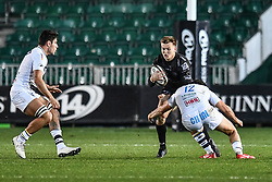 Will Talbot-Davies of Dragons is tackled by Tommaso Boni of Zebre<br /> <br /> Photographer Craig Thomas/Replay Images<br /> <br /> Guinness PRO14 Round 7 - Dragons v Zebre - Saturday 30th November 2019 - Rodney Parade - Newport<br /> <br /> World Copyright © Replay Images . All rights reserved. info@replayimages.co.uk - http://replayimages.co.uk