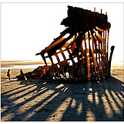 Peter Iredale was a four-masted steel barque sailing vessel that ran ashore on the Oregon coast in 1906. (Photograph made with Hasselblad 28mm)