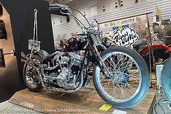 Motoshop Tonouchi's rigid 1983 Harley-Davidson Shovelhead at the Mooneyes Yokohama Hot Rod & Custom Show. Yokohama, Japan. December 6, 2015.  Photography ©2015 Michael Lichter.