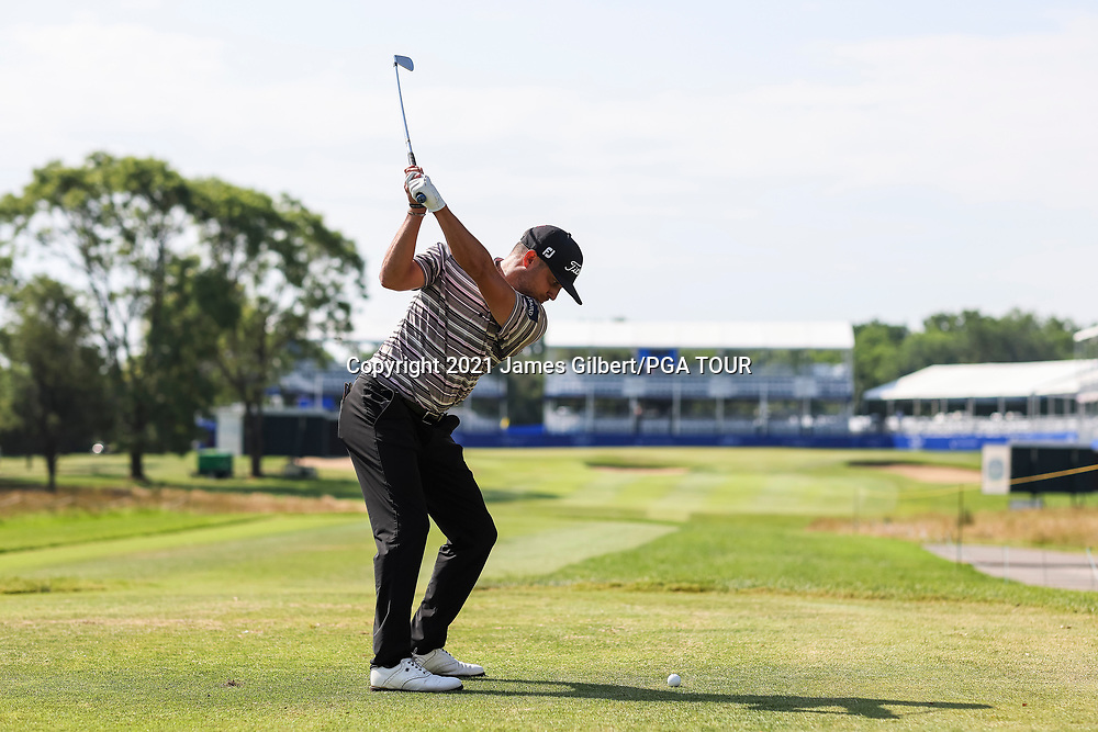 WICHITA, KS - JUNE 20: Kevin Lucas plays his shot from the 17th tee during the final round of the Wichita Open Benefitting KU Wichita Pediatrics at Crestview Country Club on June 20, 2021 in Wichita, Kansas. (Photo by James Gilbert/PGA TOUR via Getty Images)