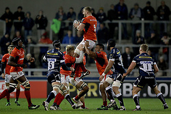 Saracens George Kruis collects the ball during the European Champions Cup, pool three mach at the AJ Bell Stadium, Salford.