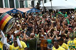 June 17, 2018 - Salvador, Brazil - SALVADOR, BA - 17.06.2018: TORCIDA BRASIL EM SALVADOR - Twisted celebrates goal of Brazil in Pelourinho, in Salvador, for the Brazilian National Team in the Russian Cup, went to the sound of the Olodum in Salvador. (Credit Image: © Mauro Akin Nassor/Fotoarena via ZUMA Press)