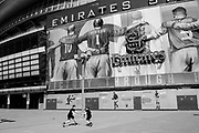 EDITORS NOTE: Image has been converted to black and white. The Emirates Stadium, the North London home of the Arsenal football team is deserted due to lockdown as a result of the Coronavirus Pandemic on 16th April 2020 in London, United Kingdom. Coronavirus or Covid-19 is a new respiratory illness that has not previously been seen in humans. Much of Europe has been placed into lockdown, with stringent rules in place as part of a long term strategy, and in particular social distancing, and a stay at home policy.