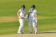 Gary Ballance of Yorkshire and Joe Root of Yorkshire talk between overs during the Specsavers County Champ Div 1 match between Hampshire County Cricket Club and Yorkshire County Cricket Club at the Ageas Bowl, Southampton, United Kingdom on 11 April 2019.
