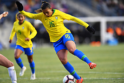 February 27, 2019 - Chester, PA, U.S. - CHESTER, PA - FEBRUARY 27: Brazil Forward Beatriz (16) carries the ball in the second half during the She Believes Cup game between Brazil and England on February 27, 2019 at Talen Energy Stadium in Chester, PA. (Photo by Kyle Ross/Icon Sportswire) (Credit Image: © Kyle Ross/Icon SMI via ZUMA Press)