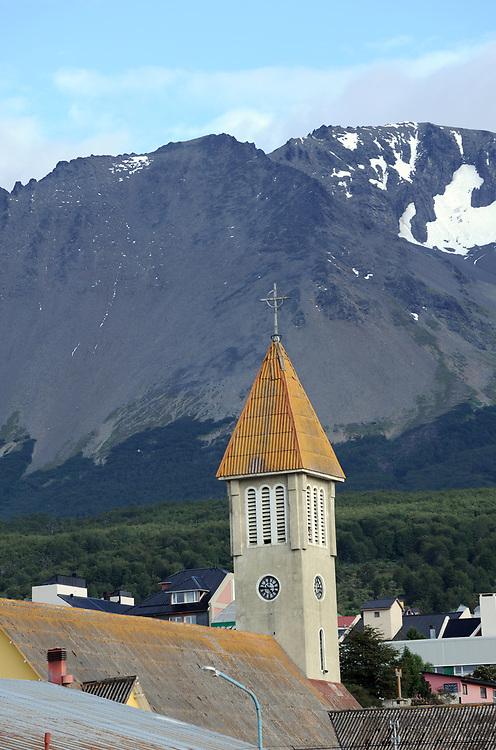 The spire of the corrugated iron-roofed church of Nuestra Señora de la Merced. Ushuaia, Republic of Argentina. 12Feb16