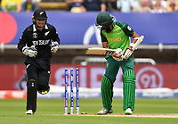 Cricket - 2019 ICC Cricket World Cup - Group Stage: New Zealand vs. South Africa<br /> <br /> New Zealand's Tom Latham celebrates as South Africa's Hashim Amla is clean bowled by Tim Southee for 55, at Edgbaston, Birmingham.<br /> <br /> COLORSPORT/ASHLEY WESTERN