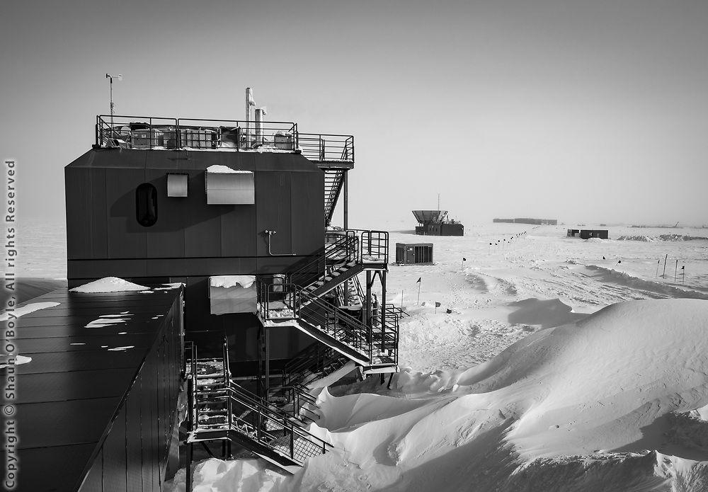 Dark Sector lab, with MAPO and the South Pole Station in the distance