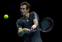 Andy Murray (GBR) in action today during his defeat by Kei Nishikori (JPN) in their Group B Singles match - Kei Nishikori (JPN) def Andy Murray (GBR) 6-4 6-4<br /> <br /> Photographer Stephen White/CameraSport<br /> <br /> International Tennis - Barclays ATP World Tour Finals - O2 Arena - London - Day 1 -  Sunday 9th November 2014<br /> <br /> © CameraSport - 43 Linden Ave. Countesthorpe. Leicester. England. LE8 5PG - Tel: +44 (0) 116 277 4147 - admin@camerasport.com - www.camerasport.com