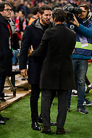Atletico de Madrid's coach coach Diego Pablo Simeone and RCD Espanyol coach Quique Sanchez Flores during match of La Liga between Atletico de Madrid and RCD Espanyol at Vicente Calderon Stadium in Madrid, Spain. December 03, 2016. (ALTERPHOTOS/BorjaB.Hojas)