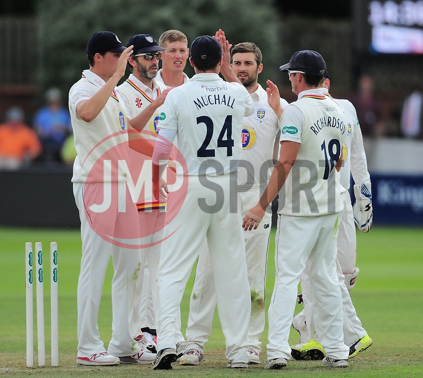 Mark Wood of Durham celebrates the wicket of Jack Leach with his teammates.  - Mandatory by-line: Alex Davidson/JMP - 05/08/2016 - CRICKET - The Cooper Associates County Ground - Taunton, United Kingdom - Somerset v Durham - County Championship - Day 2