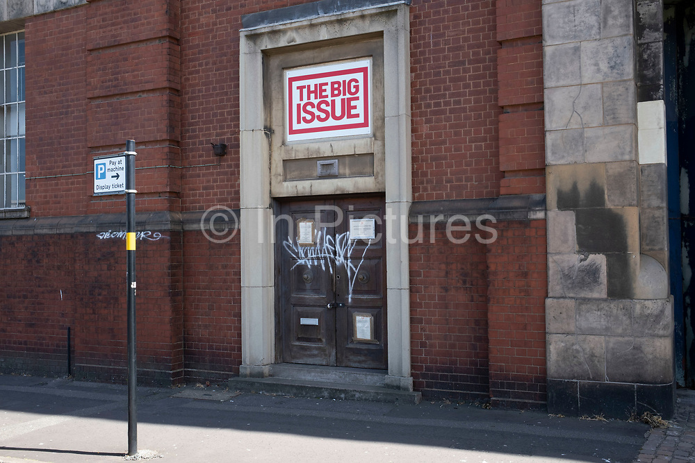 Offices of The Big Issue on 27th May 2020 in Birmingham, United Kingdom. The Big Issue is a street newspaper founded by John Bird and Gordon Roddick in September 1991 and published in four continents. The Big Issue is one of the UKs leading social businesses and exists to offer homeless people, or individuals at risk of homelessness, the opportunity to earn a legitimate income, thereby helping them to reintegrate into mainstream society. It is the worlds most widely circulated street newspaper.