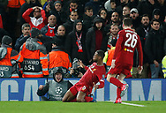 Georginio Wijnaldum of Liverpool celebrates scoring his goal during the UEFA Champions League match at Anfield, Liverpool. Picture date: 11th March 2020. Picture credit should read: Darren Staples/Sportimage