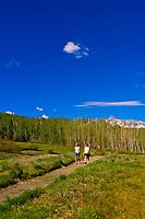 Women walking, Telluride Mountain Village, Telluride, Colorado USA