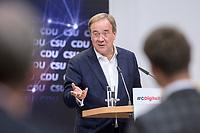 """06 SEP 2021, BERLIN/GERMANY:<br /> Armin Laschet, CDU, CDU/CSU Kanzlerkandidat und Ministerpraesident NRW, haelt eine Rede, Veranstaltung """"Digitalimpulse - #c: digitally united"""", Konrad-Adenauer-Haus<br /> IMAGE: 20210906-02-046"""
