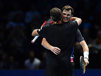 Tennis - 2018 Nitto ATP Finals at The O2 - Day One<br /> <br /> Group Doubles Group Llodra/Santoro: Jamie Murray (GB) & Bruno Soares (Bra) vs. Raven Klaasen (SA) & Michael Venus (NZ)<br /> <br /> Murray and Soares celebrate after their victory in the 3rd set tie break.<br /> <br /> COLORSPORT/ASHLEY WESTERN