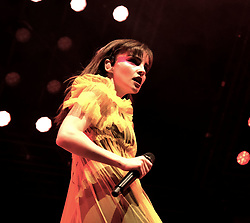 """Chvrches, Love Is Dead Tour, Glasgow Hydro, Saturday 16th February 2019<br /> <br /> Scottish band Chvrches performed at the SSE Hydro in Glasgow as part of their """"Love Is Dead"""" tour celebrating their third album of the same name.<br /> <br /> The band consists of Lauren Mayberry (singer), Iain Cook (synthesizers and guitars) and Martin Doherty (synthesizers)<br /> <br /> Pictured: Lauren Mayberry<br /> <br /> Aimee Todd 
