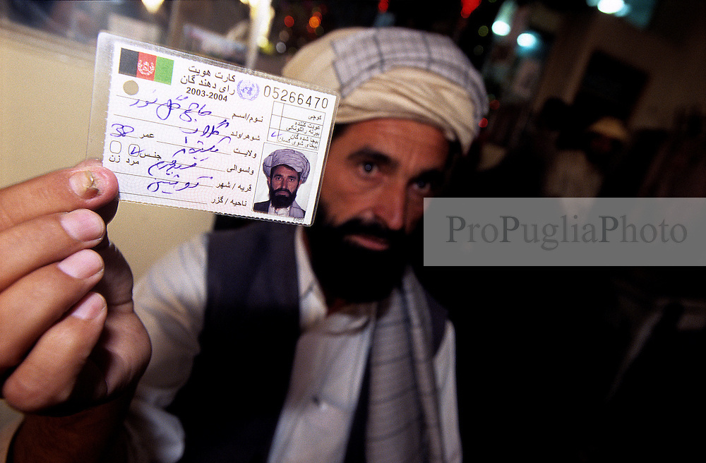 VUAKIL PASHA HAN, political candidate from Paktika, displays his ID card.