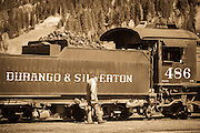 Coal car and engineer on the Durango & Silverton Narrow Gauge Railroad, Silverton, Colorado USA