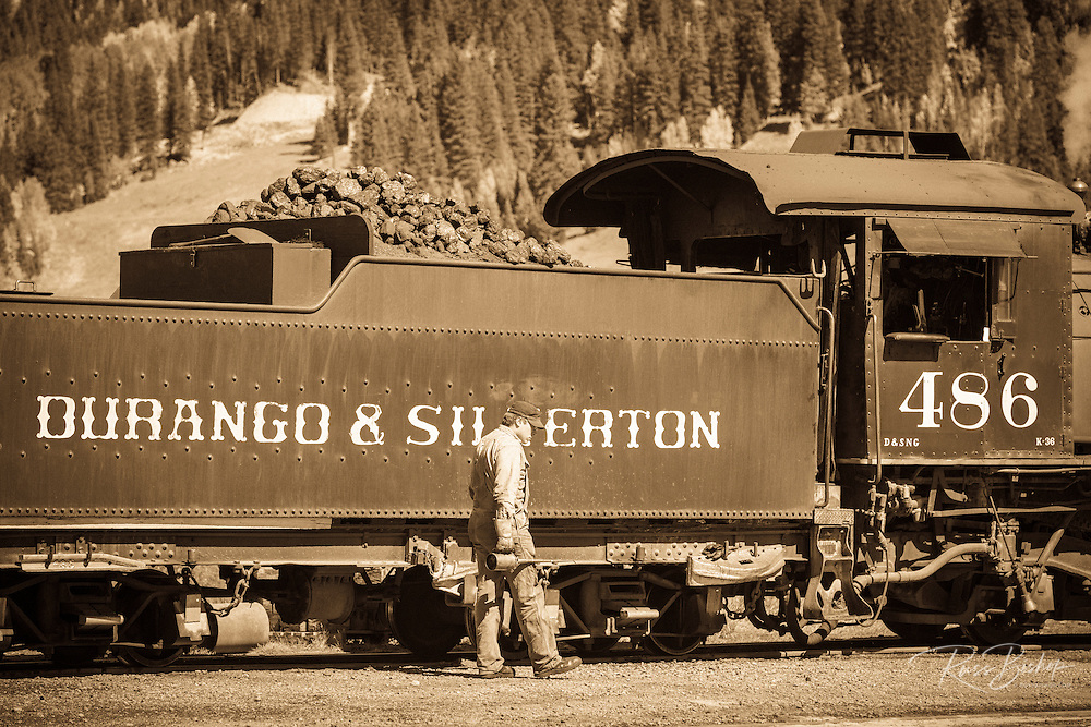 Coal car and engineer on the Durango & Silverton Narrow Gauge Railroad, Silverton, Colorado USA
