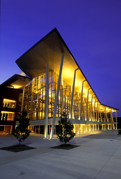 Stock photo of the outside of the Hobby Center in downtown Houston Texas