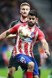 Atletico de Madrid's Diego Costa (r) and Arsenal FC's Shkodran Mustafi during Europa League semi-final, second leg in Madrid, Spain, May 3, 2018. Atletico won 1-0 and reaches the final. Photo by Acero/Alterphotos/ABACAPRESS.COM