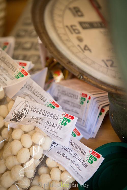 Sugared Peanuts for sale at Cruz Verde Shop, Quito, Ecuador, South America