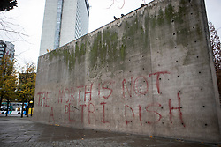 © Licensed to London News Pictures. 16/11/2020. Manchester, UK. Wall in Piccadilly Gardens nicknamed by locals 'Berlin Wall' is due to be demolished from today. The wall and building are the only works by architect Tadao Ando in the UK. Photo credit: Kerry Elsworth/LNP