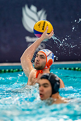 Guus van IJperen of the Netherlands in action against France during the Olympic qualifying tournament. The Dutch water polo players are on the hunt for a starting ticket for the Olympic Games on February 17, 2021 in Rotterdam