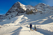 Kleiner Scheidegg in winter looking at The North Face Of the Eiger.. Swiss Alps, Switzerland .<br /> <br /> Visit our SWITZERLAND  & ALPS PHOTO COLLECTIONS for more  photos  to browse of  download or buy as prints https://funkystock.photoshelter.com/gallery-collection/Pictures-Images-of-Switzerland-Photos-of-Swiss-Alps-Landmark-Sites/C0000DPgRJMSrQ3U