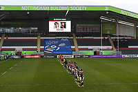 Rugby Union - 2020 / 2021 European Rugby Challenge Cup - Semi-final - Leicester vs Ulster - Welford Road<br /> <br /> Players observe a minute's silence before the game for former player and broadcaster Bleddyn Jones.<br /> <br /> COLORSPORT/ASHLEY WESTERN