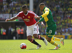 Luis Antonio Valencia of Manchester United (L) and Martin Olsson of Norwich City in action - Mandatory by-line: Jack Phillips/JMP - 07/05/2016 - FOOTBALL - Carrow Road - Norwich, England - Norwich City v Manchester United - Barclays Premier League