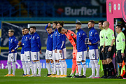 Leeds United defender Liam Cooper (6) and Leeds United players line up during the Premier League match between Leeds United and Arsenal at Elland Road, Leeds, England on 22 November 2020.