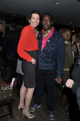 THOMASINA MIERS and ORLANDO HAMILTON at a party to celebrate the publication of A History of Food in 100 Recipes by William Sitwell held at Archer street, 3-4 Archer Street, London W1 on 11th April 2012.
