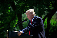 President Donald Trump announces his decision on the Paris Agreement.  The announcement was made in the White House Rose Garden on May 31, 2017 <br /><br />Photo by Dennis Brack