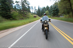 Steve DeCosa riding his 1927 Harley-Davidson JD during Stage 9 (249 miles) of the Motorcycle Cannonball Cross-Country Endurance Run, which on this day ran from Burlington to Golden, CO., USA. Sunday, September 14, 2014.  Photography ©2014 Michael Lichter.