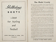 All Ireland Senior Hurling Championship Final,.Programme,.02.09.1951, 09.02.1951, 2nd September 1951,.Wexford 3-9, Tipperary 7-7,.Minor Cork v Galway, .Senior Wexford v Tipperary, .Croke Park, ..Advertisements, Hallidays Boots John Halliday & Son Ltd, ..Articles, The Model Country,