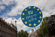 Thousands of British voters march through London to protest against the referendum decision to leave the EU Brexit on 2nd July 2016, in London UK. Demonstrators at the March for Europe rally, which was organised on social media walked from Park Lane into the heart of the UK government in Westminster to send a message of dissatisfaction in the referendum result. More than 46.5 million people voted in the referendum on 23 June, which resulted in the UK voting by 51.9% to 49.1% to withdraw from the EU.