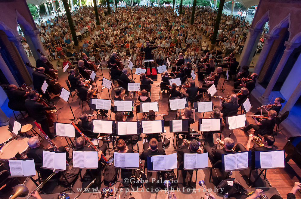 Festival Finale with the Orchestra of St. Luke's , featureing Hélène Grimaud, <br /> piano, and Pablo Heras-Casado, conductor<br /> in the Venetian Theater at Caramoor in Katonah New York on August 2, 2015. <br /> (photo by Gabe Palacio)