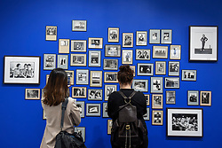 London, UK.  17 May 2017.  Visitors view a collection of black and white prints.  Preview of Photo London 2017 at Somerset House.  Held for the third time, the event showcases the best in contemporary photography, from 89 galleries from 16 different countries, for collectors and enthusiasts and will be on from 18 - 21 May. Credit: Stephen Chung / Alamy Live News