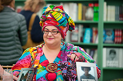 © London News Pictures. 30/05/2015. Hay-on-Wye, Powys, Wales, UK. Camilla_Batmanghelidjh signs copies of her book - Shattered Lives: Children Who Live with Courage and Dignity - at the Hay Festival 2015. Photo credit : Graham M. Lawrence/LNP.