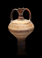painted Mycenaean two handled jug with a tall neck, Mycenae Chamber Tomb 80, 14th-13th Cent BC.  National Archaeological Museum Athens. Cat no 3228.  Black Background .<br /> <br /> If you prefer to buy from our ALAMY PHOTO LIBRARY  Collection visit : https://www.alamy.com/portfolio/paul-williams-funkystock/mycenaean-art-artefacts.html . Type -   Athens    - into the LOWER SEARCH WITHIN GALLERY box. Refine search by adding background colour, place, museum etc<br /> <br /> Visit our MYCENAEN ART PHOTO COLLECTIONS for more photos to download  as wall art prints https://funkystock.photoshelter.com/gallery-collection/Pictures-Images-of-Ancient-Mycenaean-Art-Artefacts-Archaeology-Sites/C0000xRC5WLQcbhQ