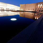 North side of Kansas City's Nelson Atkins Museum of Art at dusk.