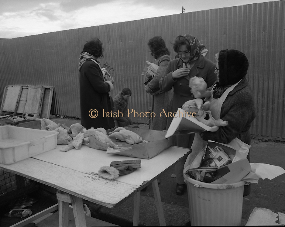 Moore Street, Dublin.      (J97)..1975..23.12.1975..12.23.1975..23rd December 1975..For well over a hundred years Moore Street has served the citizens of Dublin. The longest running open air fruit and vegatable market offers value for money,particularly to those where money is in short supply. Predominately a fruit and veg market there are several traders who sell fish and seasonal goods, as illustrated by the photographs showing turkeys and holly wreaths being sold on the run up to Christmas..Photograph shows the rough and ready way food was presented and sold. The lady on the left is preparing for Christmas with her sprig of mistletoe.