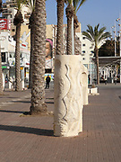 Stone sculptures in the pedestrian street, Netanya, Israel