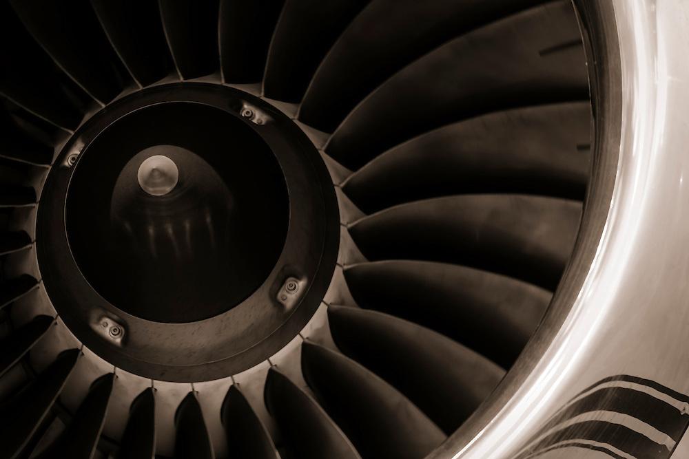 Turbine fan of a corporate jet.