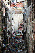 hallway in a totally burned out residential house