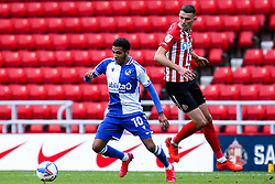 Jayden Mitchell-Lawson of Bristol Rovers takes on Tom Flanagan of Sunderland - Mandatory by-line: Robbie Stephenson/JMP - 12/09/2020 - FOOTBALL - Stadium of Light - Sunderland, England - Sunderland v Bristol Rovers - Sky Bet League One